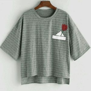 Rose pedal Gray stripe dressy Tee